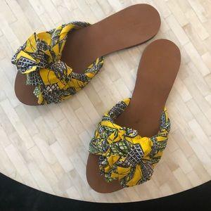 Zara knotted fabric flat sandals